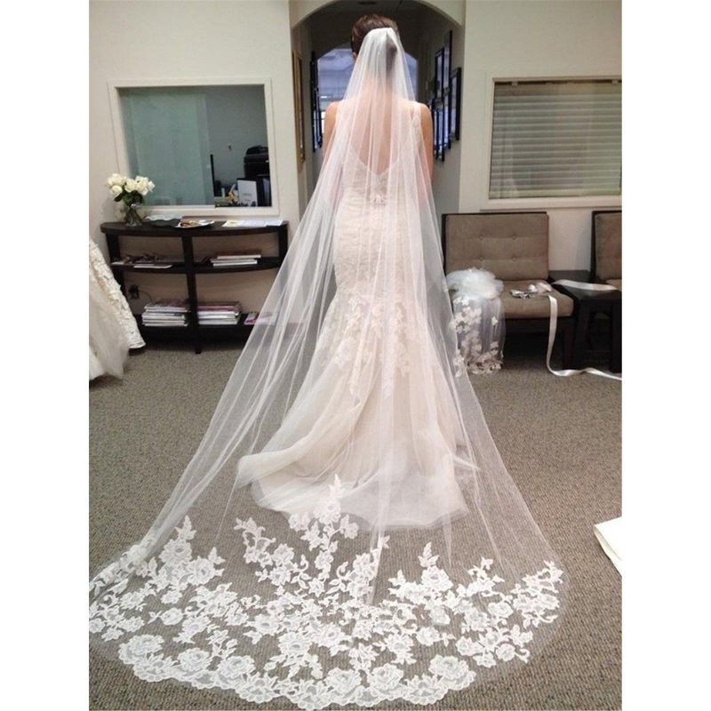 Floral Appliques Lace Chapel Long Wedding Veil