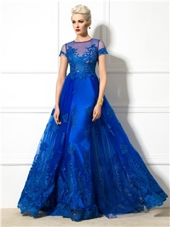 Graceful Jewel Neck Appliques Short Sleeve Lace-up Long Evening Dress