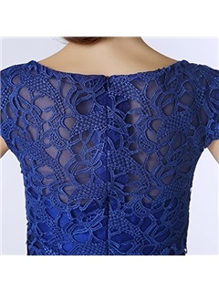 Scoop Lace Short Sleeves Knee-Length Mother Of the Bride Dress With Jacket/Shawl