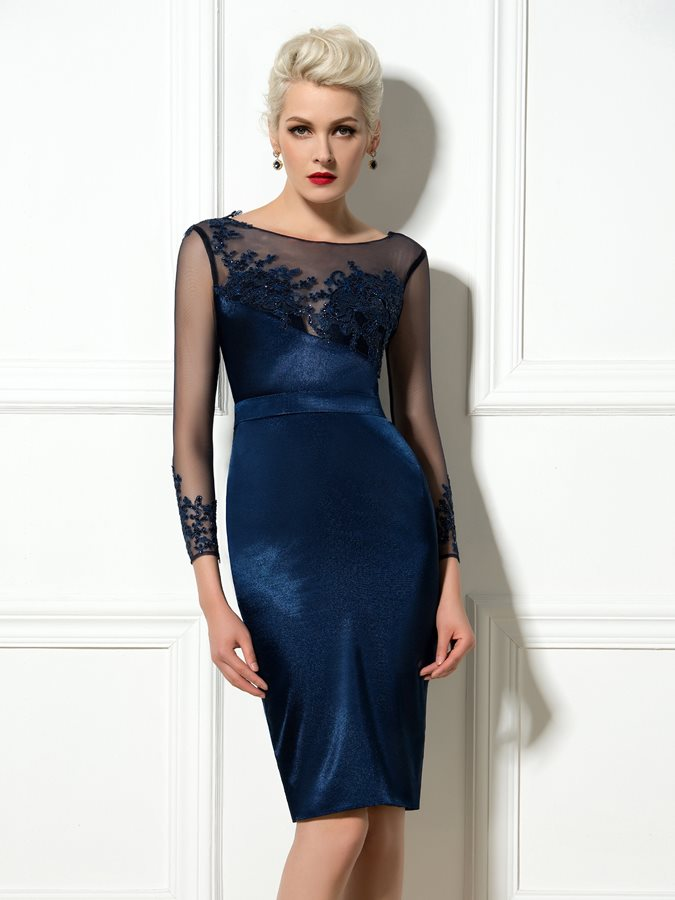 Bateau Sequined Appliques Cocktail Dress Tidebuy