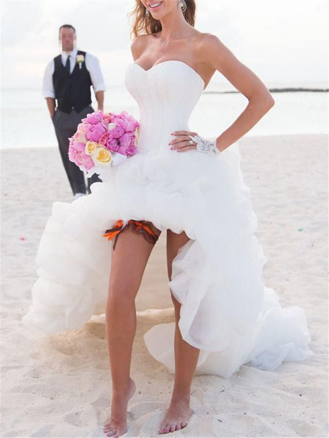 High Low Ruffles Beach Wedding Dress