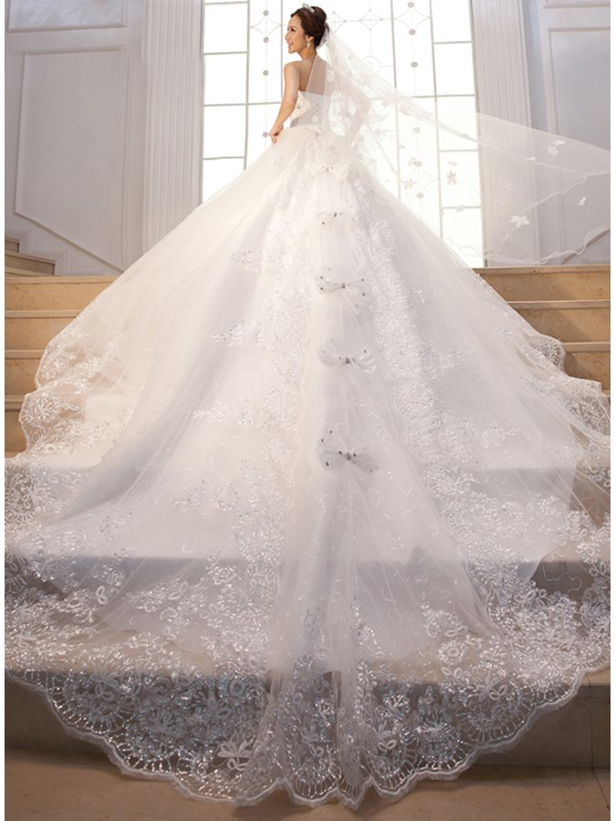 Cathedral Train Beading Sequins Bowknot Wedding Dress