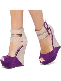 Color Block Peep-Toe Wedge Sandals