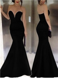 Cheap Sexy Swetheart Long Black Mermaid Evening Dress