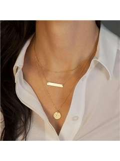 Chic Three-Row Geometric Pendant Necklace