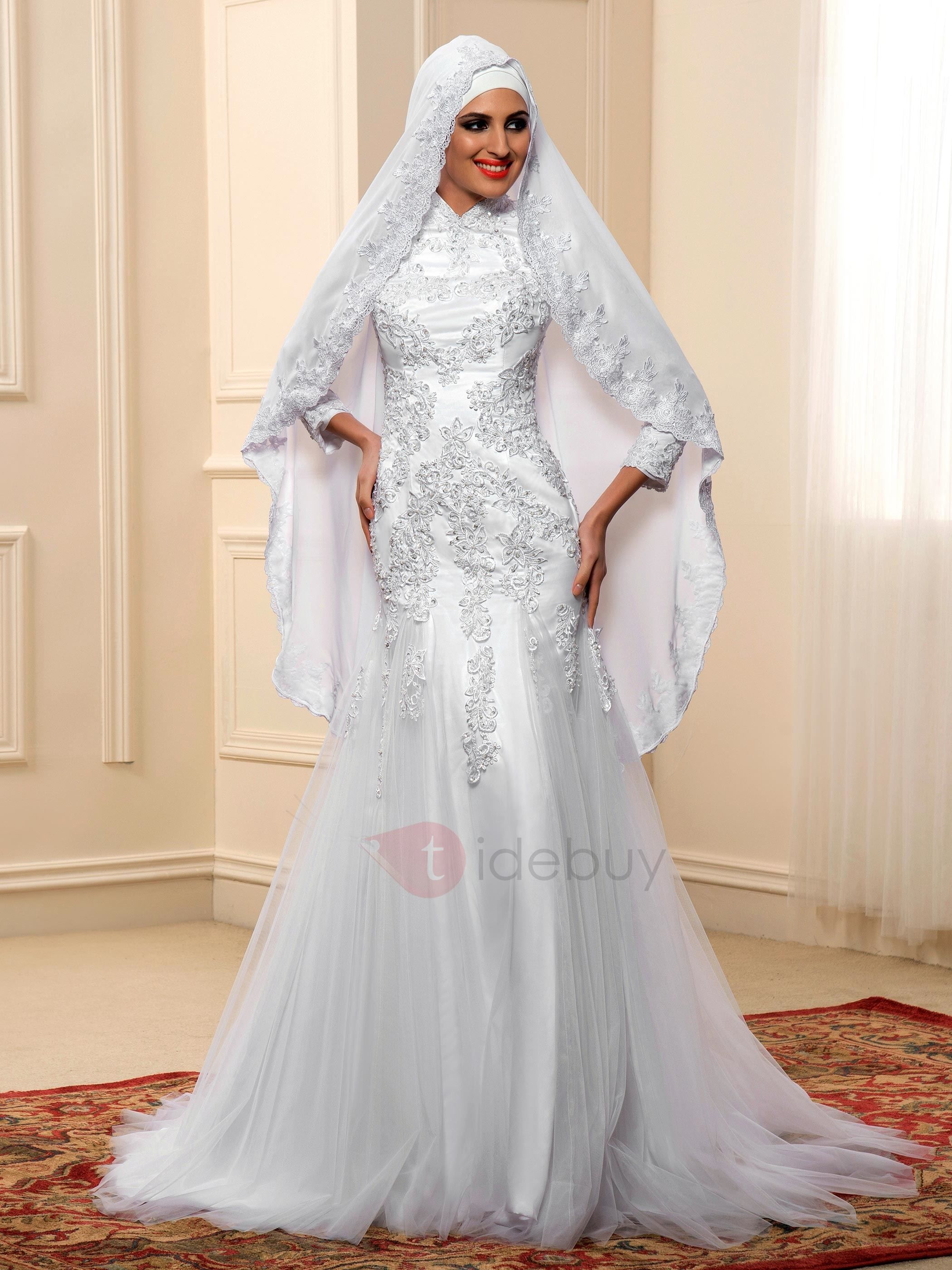 Appliques Sequins High Neck Muslim Wedding Dress : Tidebuy.com