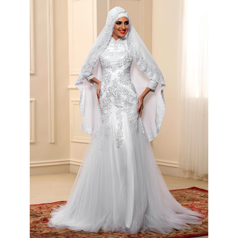 Image of Appliques High Neck Trumpet Muslim Wedding Dress