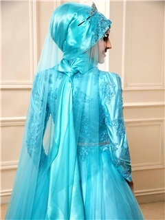 Lace Appliques High Neck Indian Muslim Wedding Dress with Hijab