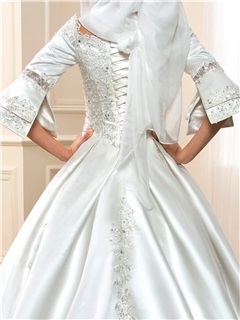 Sequined Lace 3/4 Sleeves Lace Up Arabic Wedding Dress
