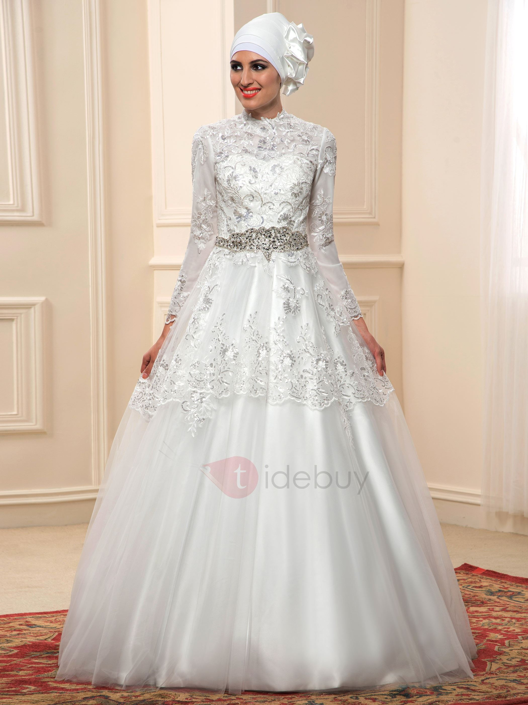 High Neck Beaded Lace Long Sleeve Arabic Muslim Wedding Dress