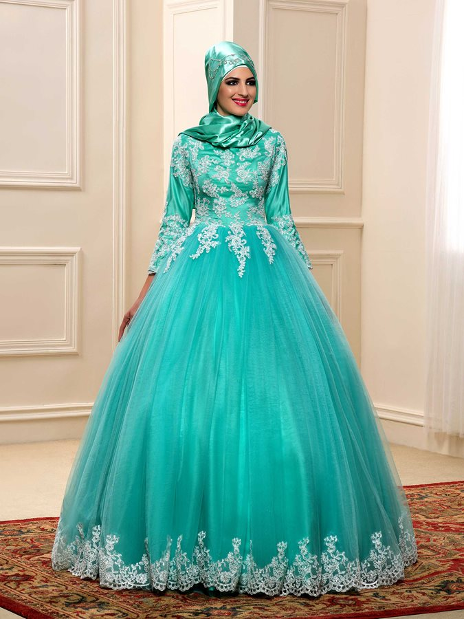 High Neck Lace Appliques Ball Gown Muslim Wedding Dress