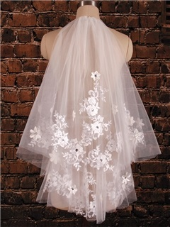 Appliques Lace Elbow Wedding Veil
