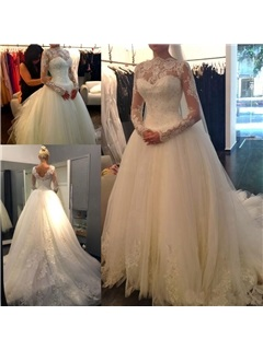 Tulle Lace Sequins Long Sleeve Ball Gown Arabic Muslim Wedding Dress