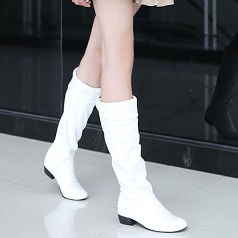 PU Pleated Purfle Slip-On Knee High Boots tidebuy