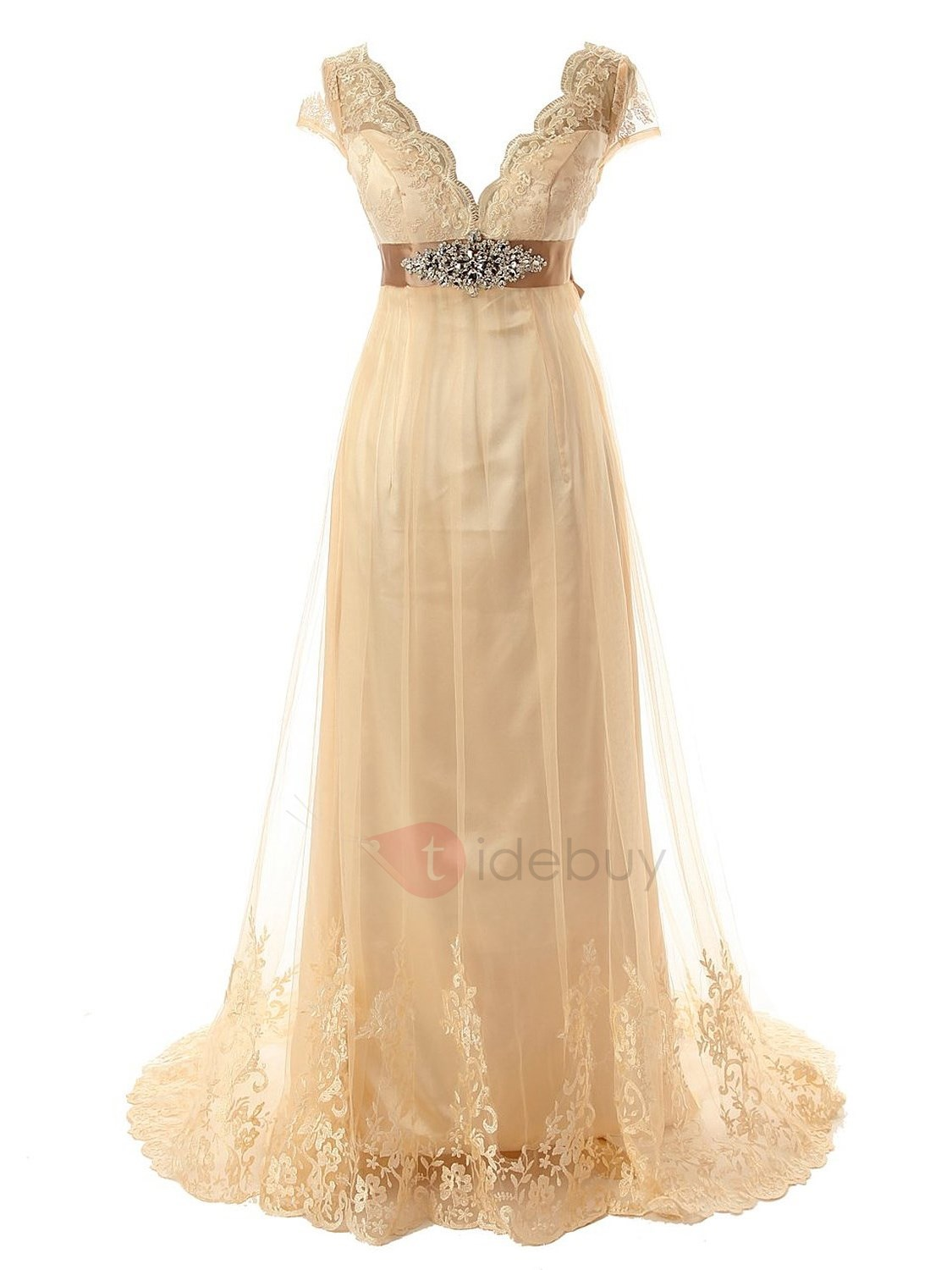 Appliques empire waist plus size wedding dress for Empire waist plus size wedding dress