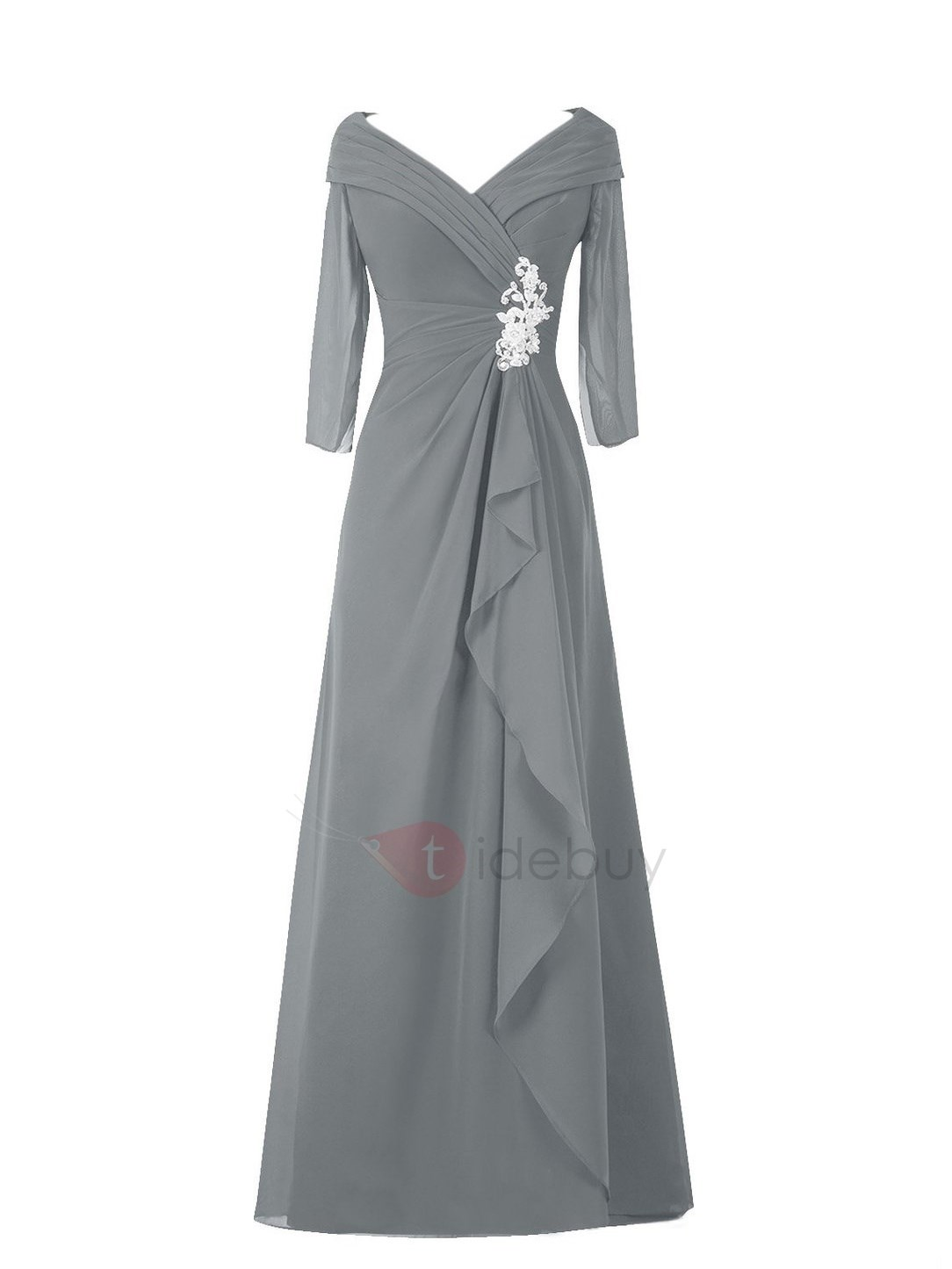 V-Neck Long Sleeve Beaded Composite Silk Mother of the Bride Dress