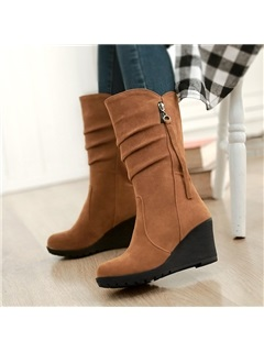 Suede Round Toe Ruched Wedge Boots
