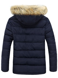 Men's Zipped Up Cotton Coat with Fur Hat