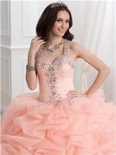 Dramatic Ball Gown Straps Beading Pick-ups Quinceanera Dress