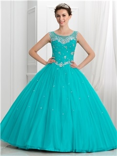 Dramatic Straps Beading Button Tulle Ball Gown Quinceanera Dress