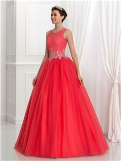 Pretty Scoop Neck Beading Lace Quinceanera Dress