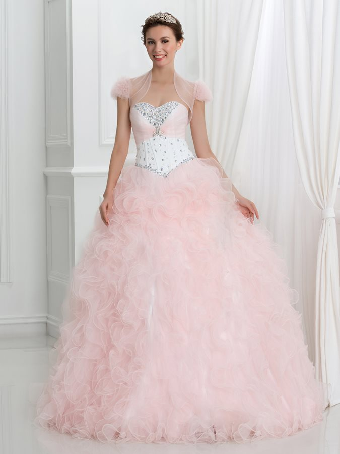 Dramatic Sweetheart Crystal Ruffles Ball Gown Quinceanera Dress With Jacket/Shawl