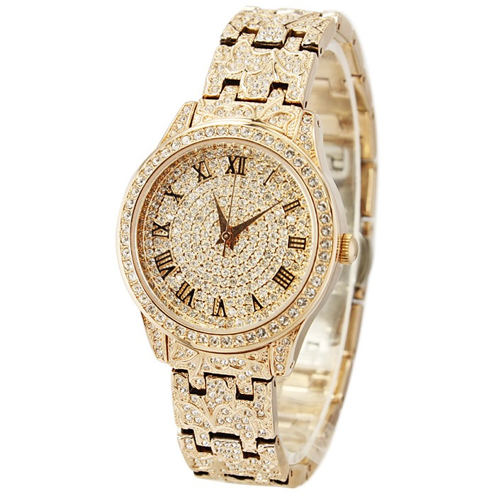 Rhinestone Roman Numeral Round High Quality Womens Watch