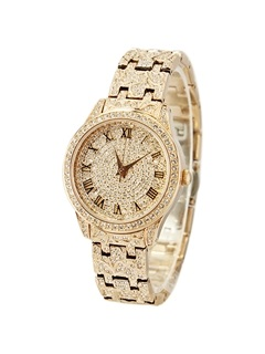 Starry Crystal Decorated Roman Numeral Round Dial Women's Watch