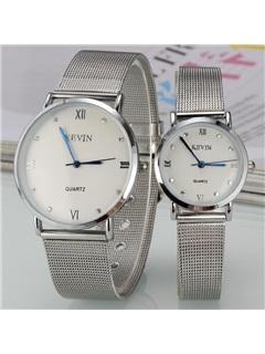 Roman Numerals Decorated Round Dial Lovers' Watches ( Price for a Pair )