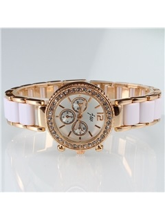 Round Dial with Rhinestone Alloy Watch