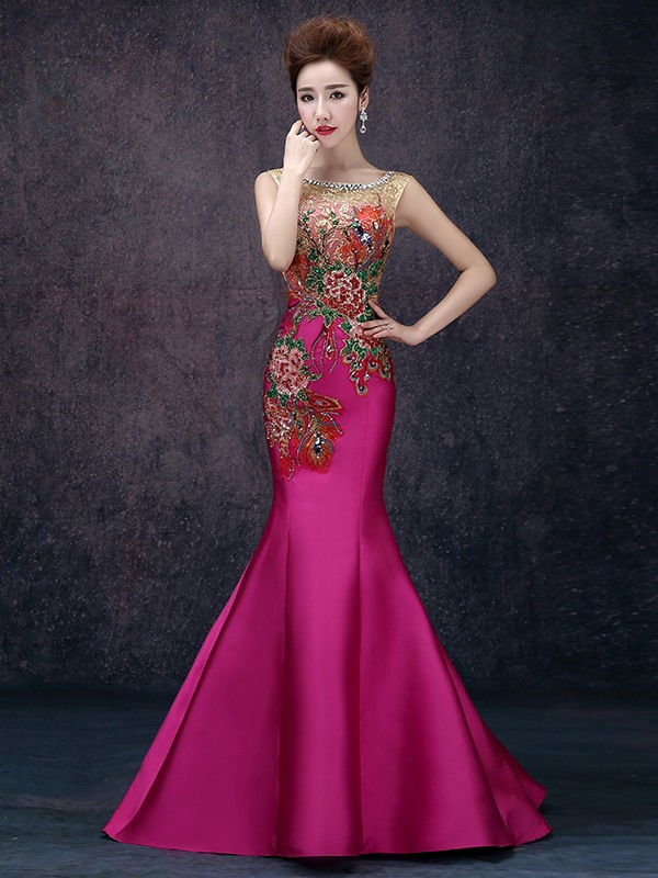 Scoop Mermaid Embroidery Beading Long Evening Dress