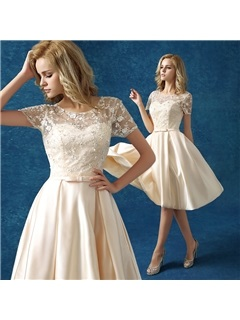 Casual Scoop Neck Short Sleeve Bowknot Lace Knee-Length Homecoming Dress