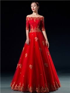 Vintage Off the Shoulder Appliques Half Sleeve Lace-up Long Ball Gown Dress