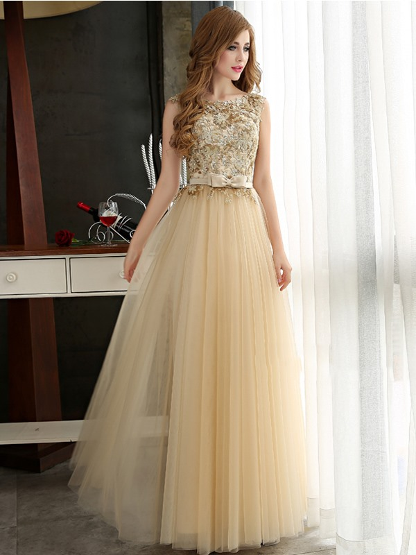 Glamorous A-Line Straps Bowknot Sequines Long Prom Dress