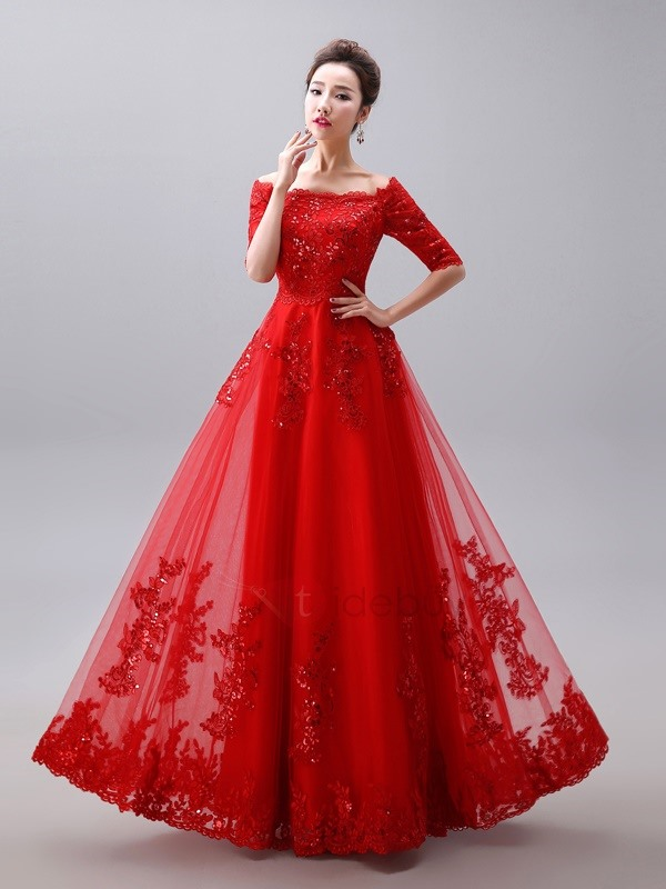 Glamorous Off the Shoulder Half Sleeve Appliques Long Red Evening Dress