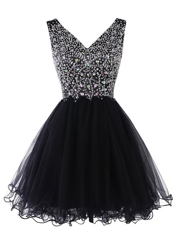 Shiny V-Neck A-Line Beaded Short Black Cocktail Dress