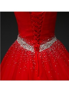 Super Sweetheart Beaded Ball Gown Lace-Up Red Quinceanera Dress