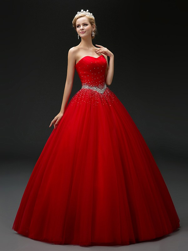 Sweetheart Beaded Sequins Quinceanera Dress фото