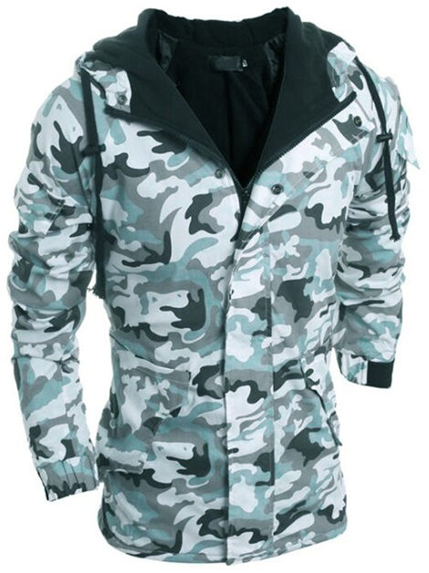 Camouflage Hooded Zipper Men's Jacket