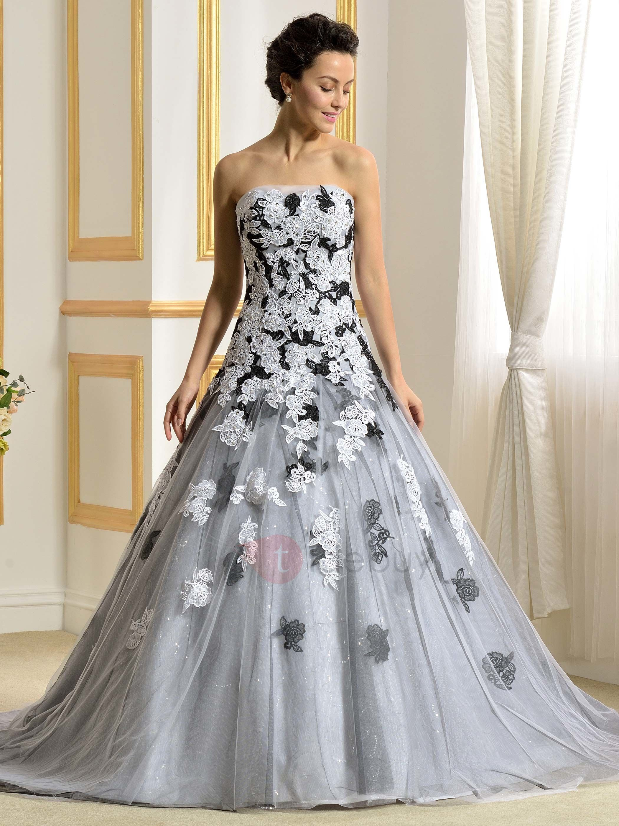 Floor length a line strapless lace appliques color wedding for Wedding dresses in color