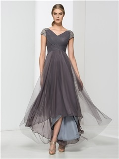 Hot Sale V-Neck Short Sleeves Sequins High Low Evening Dress