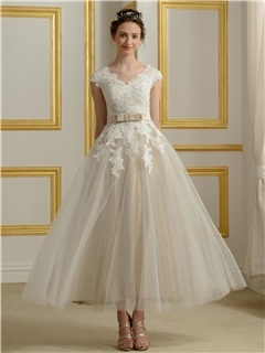 Tea Length A-Line Lace V-Neck Short Sleeve Wedding Dress