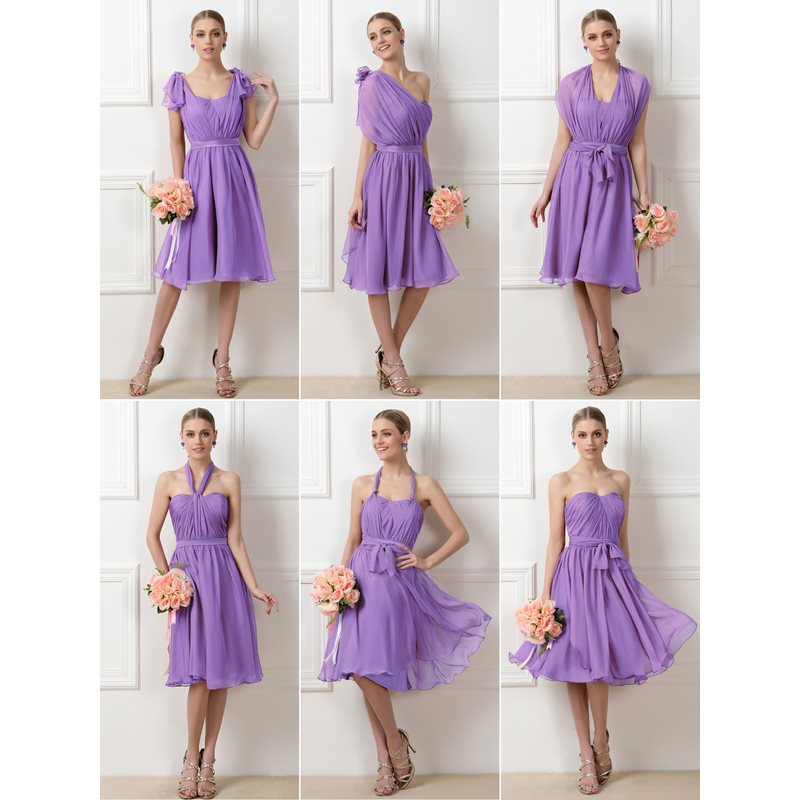 Convertible Purple Knee-Length Short Bridesmaid Dress фото