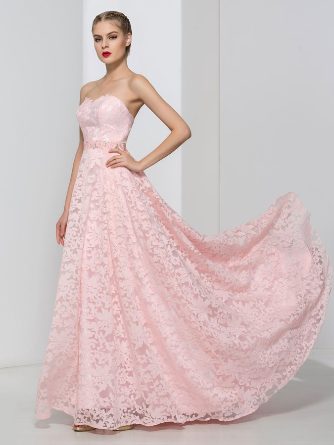 Dramatic Sweetheart Beading Lace Pink Prom Dress Tidebuy