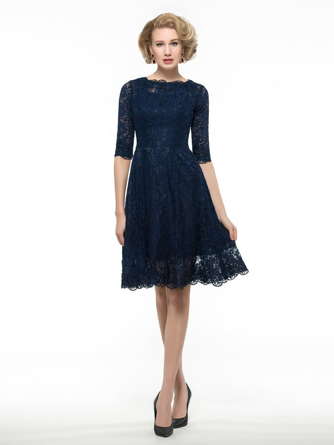 Knee Length Half Sleeve Lace Mother Of The Bride Dress
