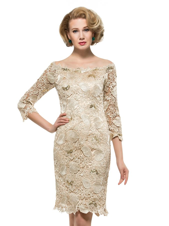 3/4 Sleeves Sequins Knee Length Lace Mother of the Bride Dress