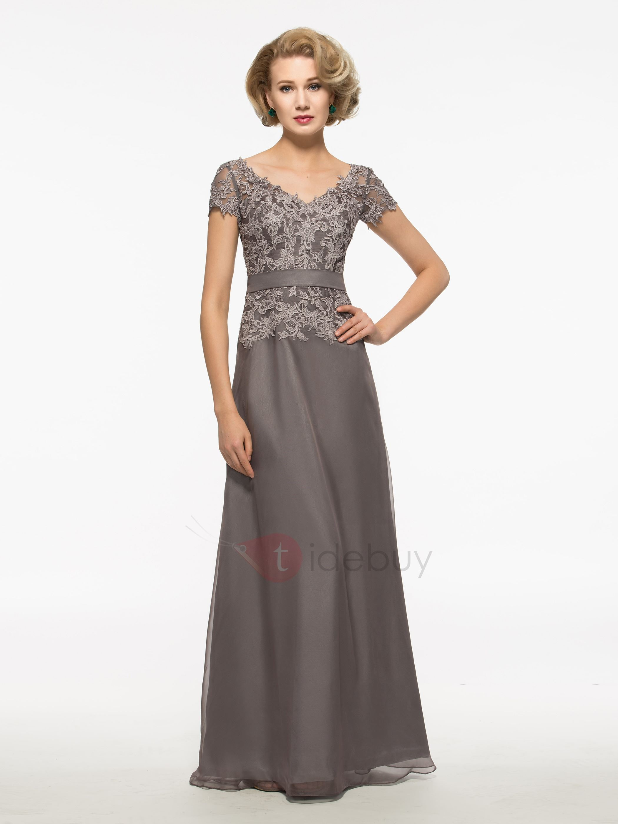 V Neck Short Sleeves Lace Long Mother Of The Bride Dress