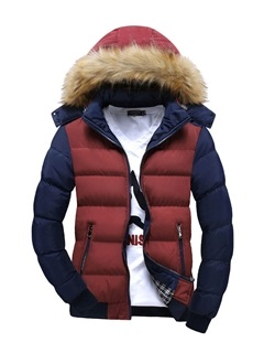 Men's Color Block Faux Fur Collar Zipper Thicken Cotton Parka