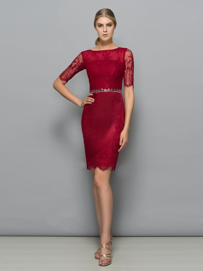 Classy Half Sleeve Beading Sheath Lace Formal Dress Tidebuy