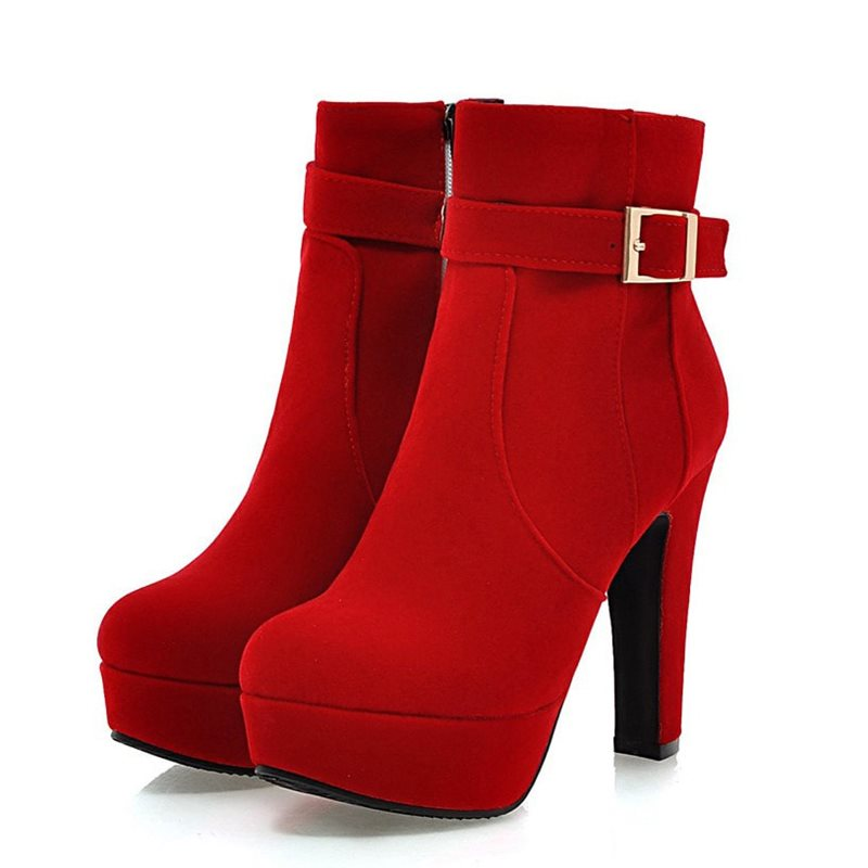 Image of Buckle Suede Platform Ankle Boots